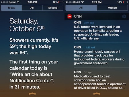 iOS 7 Notification center 6