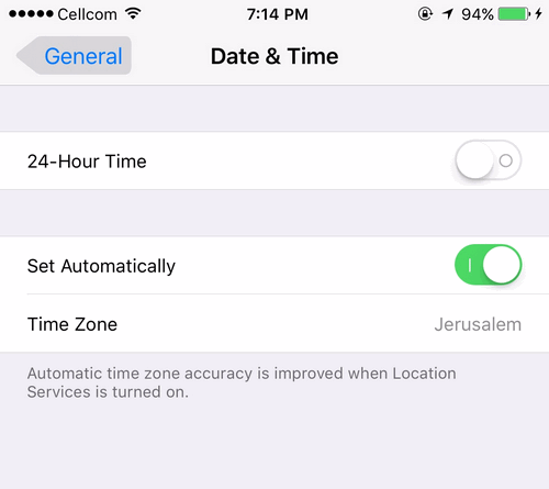 Apple Time Zone iOS