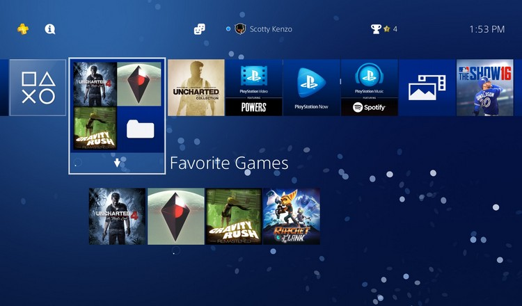 PlayStation 4 OS 4.00 Home Screen